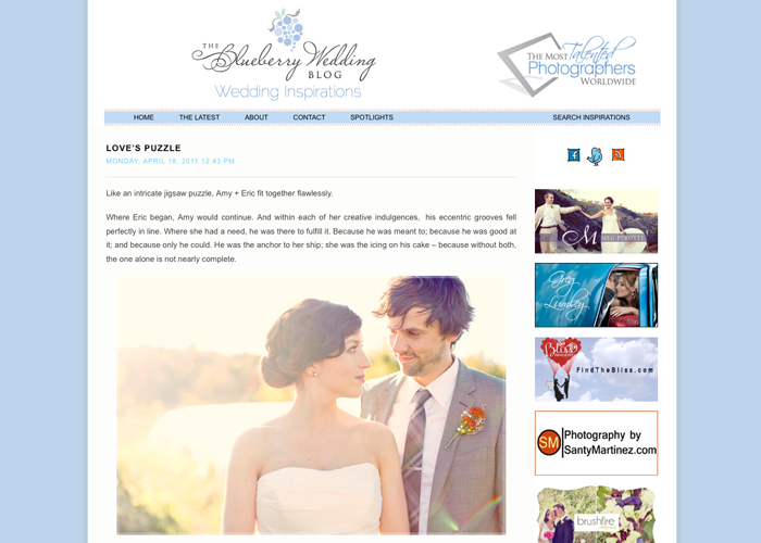Featured on the Blueberry Wedding Blog!!!