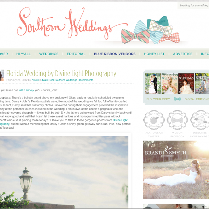 Darcy & Johns Wedding featured on Southern Weddings Magazine!!!