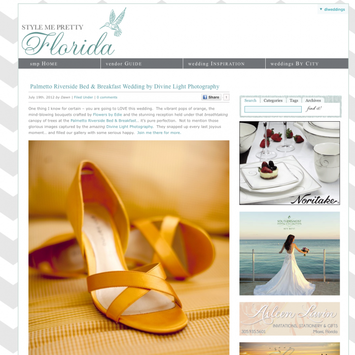 SoRelle & Dave's Palmetto Riverside Bed & Breakfast Wedding Published!